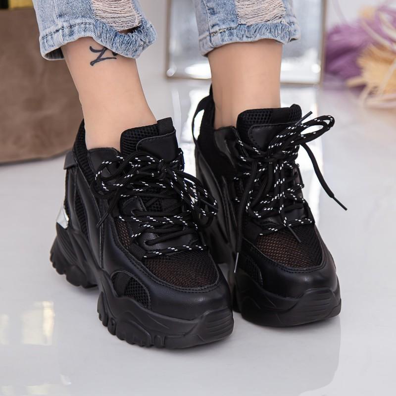 Pantofi Casual Dama ZP1975 Black-Red Reina