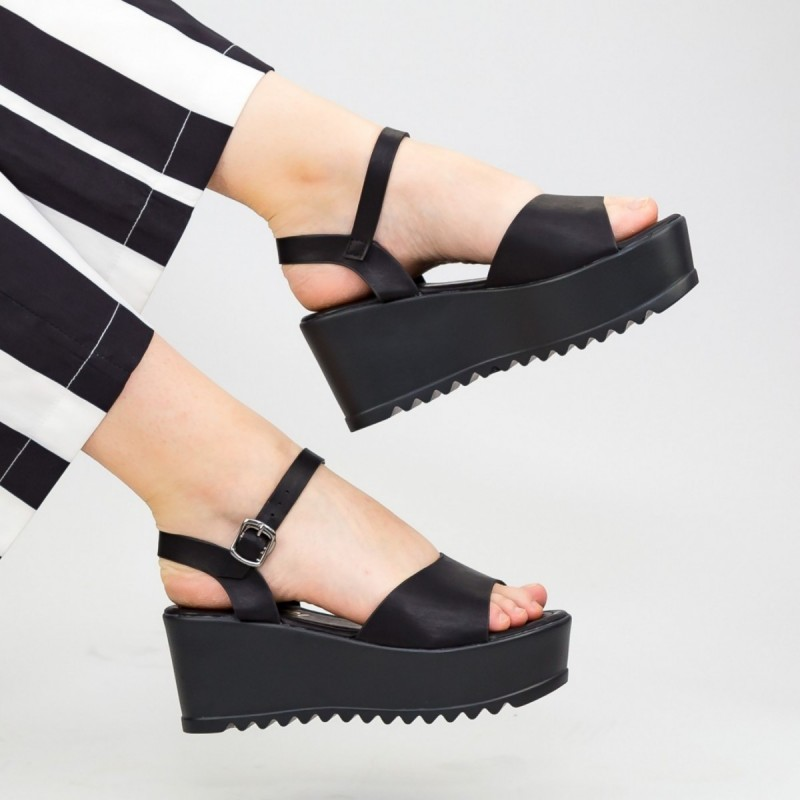 Sandale Dama Cu Platforma CZMY2 Black Reina